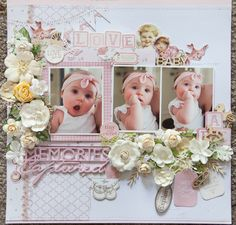 Creative Mayhem: Baby Girl Layout using Kaisercraft 'Peek-a-Boo' Collection Baby Boy Scrapbook, Bridal Shower Scrapbook, Birthday Scrapbook, School Scrapbook, Scrapbook Examples, Scrapbook Sketches, Scrapbook Page Layouts, Scrapbook Albums, Photo Layouts