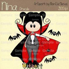 Halloween Drácula vampire Nina dolls 0334 digital clip by Withart, $2.99