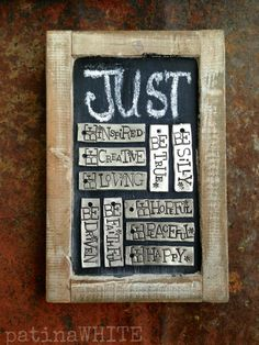 Metal stamping - love the mixture of letter sizes - it creates whimsy without having to buy a zillion fonts .