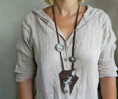 Long leather necklace Brown leather necklace with raw crystal quartz and kyanite…