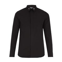 Givenchy Single-cuff collar-tipped cotton shirt (1670 QAR) ❤ liked on Polyvore featuring men's fashion, men's clothing, men's shirts, men's dress shirts, black, mens dress shirts, givenchy mens shirt, mens slim fit shirts, mens slim fit dress shirts and star wars mens shirts