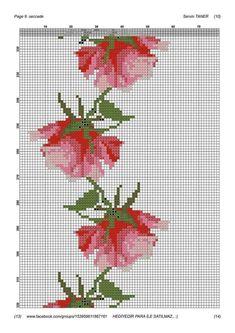 Cross Stitch Rose, Cross Stitch Flowers, Cross Stitch Embroidery, Embroidery Patterns, Cross Stitch Patterns, Stitch Cartoon, Prayer Rug, Handicraft, Free Pattern
