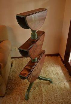 uma tabela incomum, mobiliário pintado