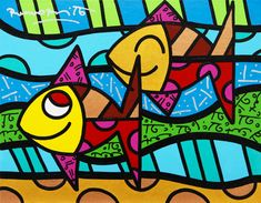 Available for sale from Eden Fine Art, Romero Britto, Come Along Acrylic paint and diamond dust on canvas, 28 × 36 cm Square One Art, Bright Colors Art, Pop Art, School Murals, Arte Country, Graffiti Painting, Galerie D'art, Arte Pop, Canvas Crafts