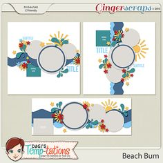The set features two 12x12 templates and a bonus Facebook Timeline Template so you can let your friends see how you have been enjoying your days. Available and on sale for 50% off now through July 5 at Ginger Scraps: http://store.gingerscraps.net/Beach-Bum.html