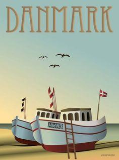 Vintage Travel Poster - Denmark - by Dorthe Mathiesen (Vissevasse). Old Posters, Boat Illustration, Denmark Travel, Travel Ads, Vintage Travel Posters, Fishing Boats, Surf Fishing, Fishing Lures, Vintage Advertisements
