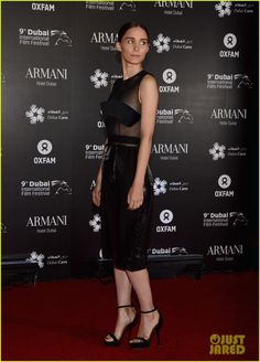Rooney Mara in a black sheer mid dress