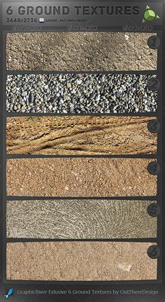 Buy 6 Ground Textures by indigochris on GraphicRiver. This is a set of 6 ground textures, this file contains six .JPG format ground textures and one Photoshop . Game Textures, Textures Patterns, Landscape Elements, Landscape Architecture, Textured Walls, Textured Background, Dirt Texture, Render People, Concrete Facade