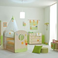 Baby Nursery Celebrities' Baby Nursery Room You Can Get Inspired from: Stuninng Baby Nursery With Green Winnie The Pooh Rocker Crib With Transparent Curtain Green Pillow Cute Drawer Chest White Pendant Light Large Window