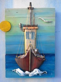 Wood Pallets Ideas traditional fishing boat made from pallet wood .Light, colours, natural materials become inspiration, shapes. pictures of harmony and beauty. Driftwood Projects, Driftwood Art, Boat Painting, Painting On Wood, Wood Pallets, Pallet Wood, Diy Wood, Boat Drawing, Boat Art