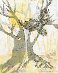 Raven Art Tree Art Original Abstract Art Monoprint by kaslkaos - already sold