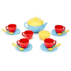 Green Toys Tea Set, Blue/Red/Yellow -- You can find out more details at the link of the image.