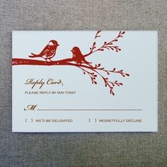 DIY Lovebirds Wedding RSVP Card from #downloadandprint. Have this made in your #wedding colors! www.downloadandprint.com http://www.downloadandprint.com/templates/love-birds-rsvp-card-template/ $9.00