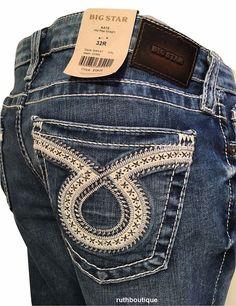 BIG STAR Denim Jeans Womens Kate Straight 32 Reg LOMA SWKAT Retail $139. #BigStar #StraightLeg