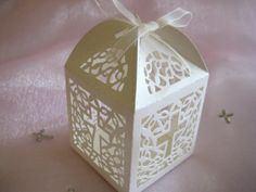 Ivory Party Favor Boxes for Christening Favors, Baptism Favor, First Communion Favors, Set of 12 on Etsy, $9.00