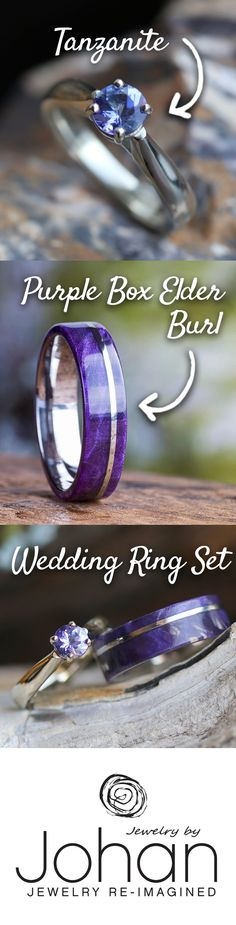 The unique wedding ring set comes with a solitaire Tanzanite engagement ring for her and a hypoallergenic titanium wedding band overlaid with stunning Purple Box Elder Burl wood for him.