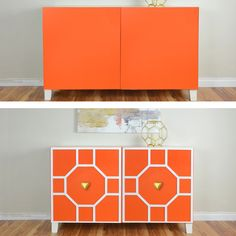 Before and after home decor makeover.  A diy project with O'verlays and the Ikea Besta Unit.  What a difference a little bit of paint and some Ruby O'verlays make to easily transform this piece into a gorgeous console. Kits available for 2 and 3 door besta units.