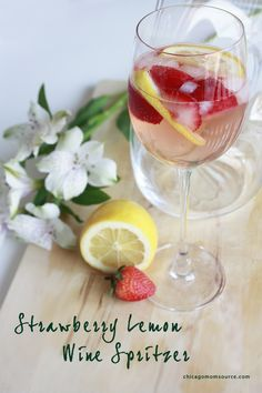 Strawberry Lemon Wine Spritzer