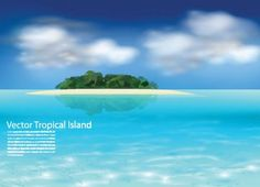 Tropical Island Vector Ocean Landscape - http://www.dawnbrushes.com/tropical-island-vector-ocean-landscape/