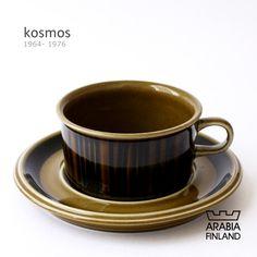 ARABIA kosmos   製造期間:1964年 - 1976年 一つ一つ丁寧に手描きで描かれた直線が特徴的なデザインは、コスモスの花びらを表現しています。落ち着いた色合いで和食にも良く合います。  フォルムデザイン:ウラ・プロコッペ(Ulla Procope) デコレーション:グンヴァル・オリン・グラングヴィスト(Gunvor Olin-Gronqvist) Ceramics, Brown, Tableware, Scale, Ceramica, Pottery, Dinnerware, Tablewares, Brown Colors