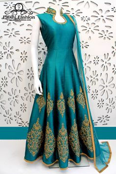 PalkhiFashion Exclusive Full Flair Teal Green Color Outfit Nicely Handmade With Stones and Embroidered Work On Neck and Bottom With Nice Design. Indian Gowns Dresses, Indian Fashion Dresses, Indian Designer Outfits, Pakistani Dresses, Indian Outfits, Designer Dresses, Women's Dresses, Dresses Online, Indian Attire