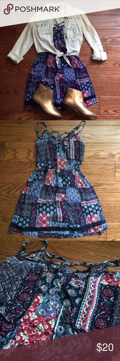 NWT Hollister Lace Up Patterned Mini Dress Size Small An airy dress in all-over print, featuring waisted styling, lace-up tassel neck ties, a strappy back, Imported New with tags Retails at $39.95                                            (shirt and boots sold separately) Hollister Dresses Mini