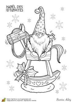 Preschool Christmas Coloring Pages Fresh tomte On Rocking Horse with Images Christmas Gnome, Christmas Colors, Christmas Crafts, Preschool Christmas, Kids Christmas, Christmas Lights, Christmas Coloring Pages, Coloring Book Pages, Illustration Noel