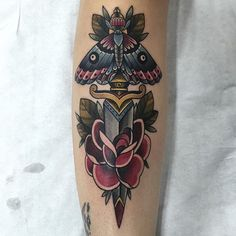 Dagger and Moth Tattoo
