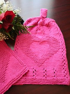 Free knitting pattern for Heart Hanging Towel