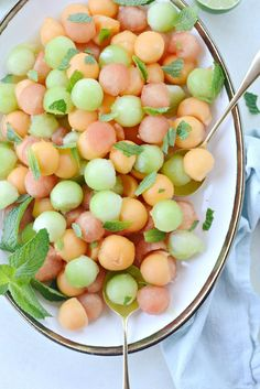 Melon Salad with Honey, Lime and Mint ~ cool and refreshing on a hot summer day ♥