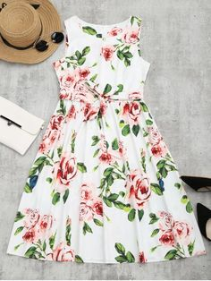 Round Collar Floral Print Belted Dress - FLORAL XL