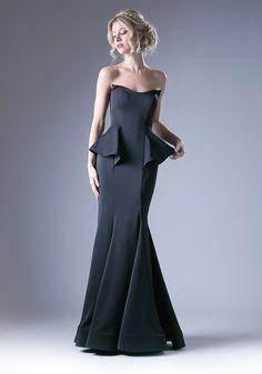Long Strapless Peplum Dress by Cinderella Divine A9003