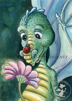 Dragon art, art print, nursery art, nursery artwork, fine art print, friendly dragon, dragon, dragons, Dragon Luck, ladybug, Lisa Victoria, fantasy, fantasy art, fairies, fairy tale, greeting card, magnet, pink, green, children's decor, kid's wall art