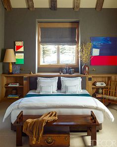 Mountain Chalet In Aspen - same goes for this bedroom. Colour combo is a little to strange for me