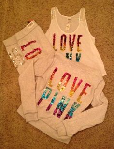 Victoria's Secret Pink Bling Fashion Show Limited Ed Rainbow Bling 3Pc Hoodie L