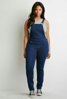Plus size, indigo classic denim overalls, Forever 21 --- I've been skeptical of this trend due to the fact that I wore them in my teens, in a not so fashionable way but I've been seeing so many cute ways to style them, I may have to try a pair on. Tomboy Fashion, Curvy Fashion, Plus Size Fashion, Girl Fashion, Fashion Outfits, Overalls Plus Size, Plus Size Jumpsuit, Plus Size Jeans, Best Plus Size Dresses