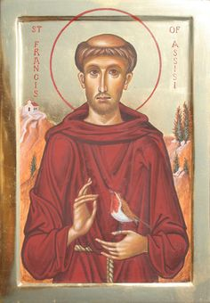 St Francis of Assisi with robin - Aidan Hart Sacred Icons Frank Bultinck http://jezusmariagroep.blogspot.be/.../11/god-is-liefde.html