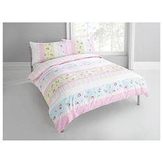 Tesco Rosebud Print Single Duvet Set Pastel Pink