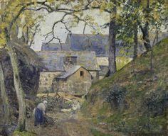 """Camille Pissarro (1830-1903) ~ """"La Ferme à Montfoucault (Mayenne), 1874 ~ Huile sur Toile 60 × 73,5 cm ~ Musée d'Art et d'histoire de Genève"""