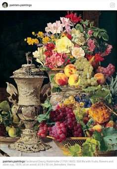 Ferdinand George Waldmuller Stilo Lire with Fruits,Flovers and Silver Cup