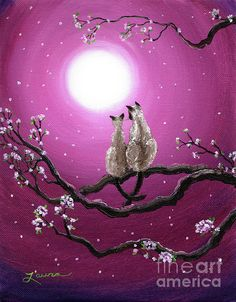 Cats Painting - Siamese Cats In Spring Blossoms by Laura Iverson I Love Cats, Crazy Cats, Cool Cats, Siamese Cats, Cats And Kittens, Image Chat, Spring Blossom, Cat Drawing, Illustrations