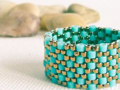 Turquoise peyote ring textured custom band ring by CallOfEarth, $27.00