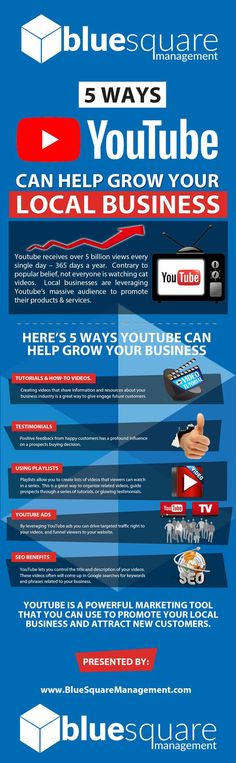 On this #YouTube #infographic you will learn 5 ways to use YouTube to market, promote and grow your local #business.  Please PIN and SHARE if you find this helpful.  #YoutubeMarketing #LocalBusiness #youtubeinfographic #SocialMediaMarketing Tube Youtube, Growing Your Business, Singles Day, 5 Ways, Social Media Marketing, Infographics, Promotion, Learning, Infographic