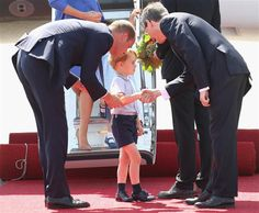 A handshake by George! GLAD to finally see the press print at least one picture that gives Prince George credit for something positive. Press loves to show all the times he is shy, tired, or moody, but rarely shows a picture of George being a diplomat. Prince William, Former Kate Middleton arrive in Germany with George and Charlotte - TODAY.com