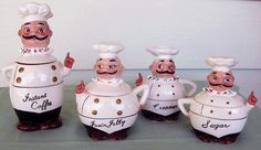 Vintage french chef canisters