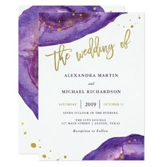 Purple Wedding Flowers Watercolor Purple and Gold Geode Wedding Card - These elegant, modern wedding invitations feature watercolor purple geode stones, with faux gold typography and splashes. Couples Wedding Shower Invitations, Bridal Shower Cards, Engagement Party Invitations, Modern Wedding Invitations, Wedding Cards, Brunch Invitations, Invites, Invitation Ideas, Wedding Stationary