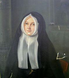Portrait de religieuse Elodie Daubès huile sur toile milieu XIXème siècle