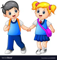 Vector illustration of Cartoon girl and boy go to school together Cartoon Cartoon, Cartoon Styles, Cartoon Drawings, Cartoon Characters, Drawing School, School Painting, Animation Schools, Flashcards For Kids, School Murals