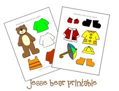 """Printable for """"Jesse Bear, what will you wear?"""" that I created for our Before Five in a Row studies."""