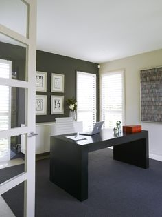 Traralgon - Monochromatic home office with custom made furniture by Christopher Elliott Design